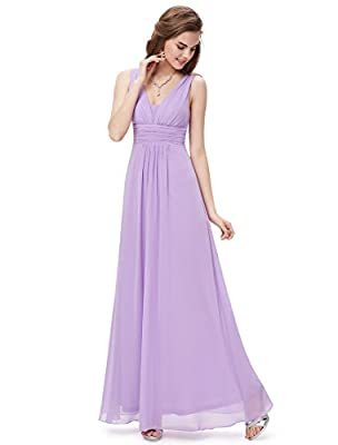 Ever Pretty Double V-Neck Ruched Waist Ladies Long Evening Dress 08110