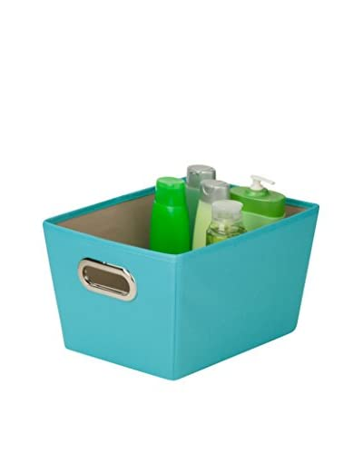 Honey-Can-Do Small Decorative Storage Bin with Handles, Blue