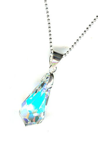 Faceted Swarovski Crystal Drop Pendant Necklace