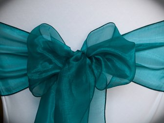 MDS 10 Organza Chair Cover Bow Sash Wedding Banquet Decor -dark teal