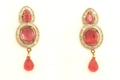 Fashion Balika Fashion Jewelry Gold-Plated Dangle & Drop Earring For Women Red-BFJER029 (Yellow)