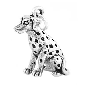 Silver 3d Dalmatian Dog Charm- Sterling Silver