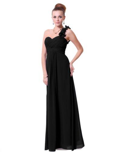 Ever Pretty Women'S Flowers One Shoulder Chiffon Maxi Evening Gown, Black, 16