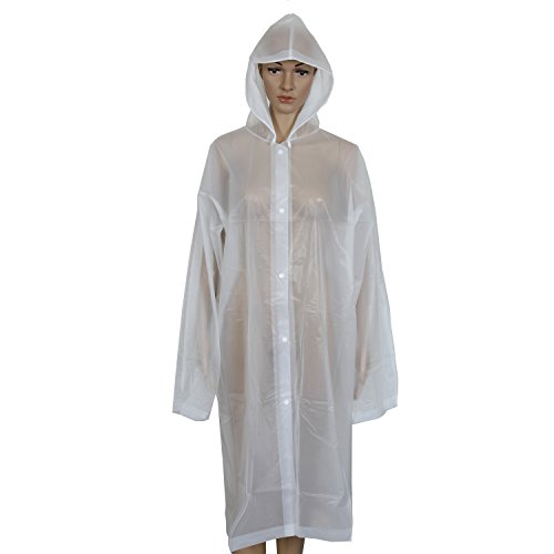 Aircee (TM) Lightweight Easy Carry Poncho Wind Hooded Jacket Raincoat (White)