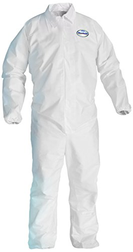 Kleenguard A20 Breathable Particle Protection Coveralls  (37716), REFLEX Design, Zip Front, Elastic Wrists & Ankles, White, Large, Convenience Pack of 1 Pair