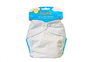 Kissa's One Size All-In-One Diaper, White