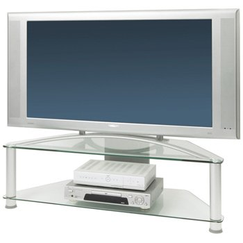 Large Glass Corner TV Stand - Silver Legs with Clear Glass