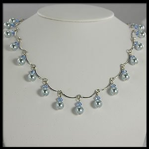 Dangling Blue Pearl, Silver and Crystal necklace (Light Blue)