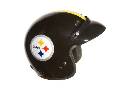 Brogies Bikewear NFL Pittsburgh Steelers Motorcycle Three Quarter Helmet (Black, Small) at Amazon.com