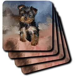 Toy Yorkie Puppy - Set Of 4 Ceramic Tile Coasters