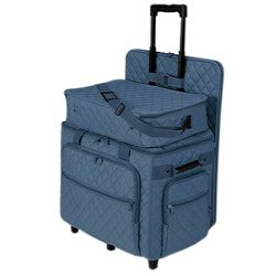 Hemline Slate Blue Quilting Studio Collection Three Bag Trolley Set by hemline