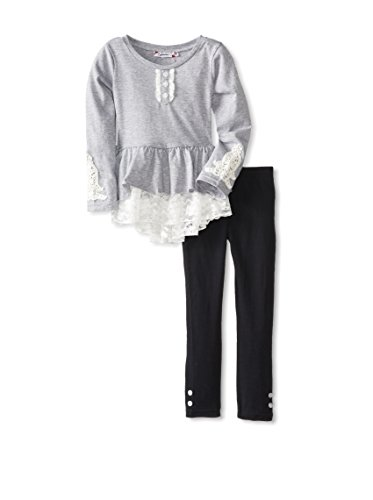 Speechless Little Girls' Lace Trim Legging Set, Grey Heather, 5 front-954733