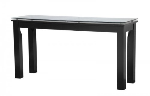 Clear Plateau SL Series Black Satin Finish Console Table with Glass Top