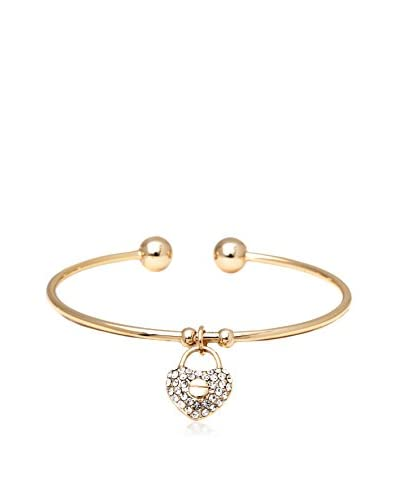 SWEET & SOFT KBA1127 Gold and Crystal Heart Lock Cuff Made with Swarovski Elements, One Size