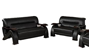 Beverly Furniture Toul Contemporary Bonded Leather 2-Piece Sofa and Loveseat Set - Black