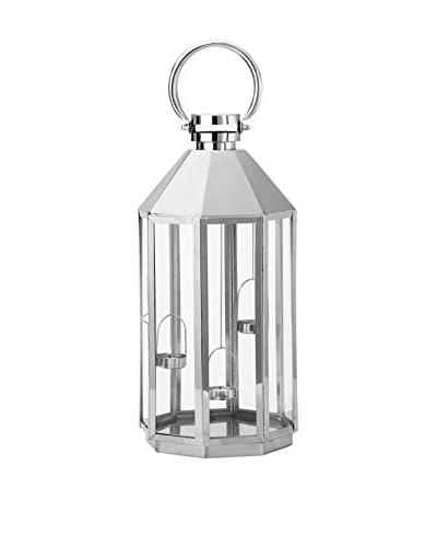 Torre & Tagus Hexagon 3 Tea Light Lantern, Silver