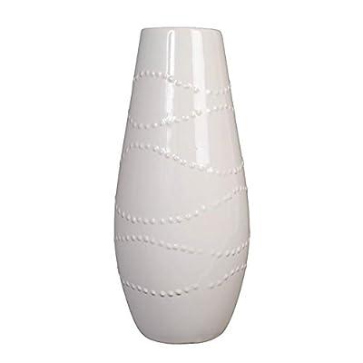 "Hosley Large 12"" Tall White Ceramic Vase"