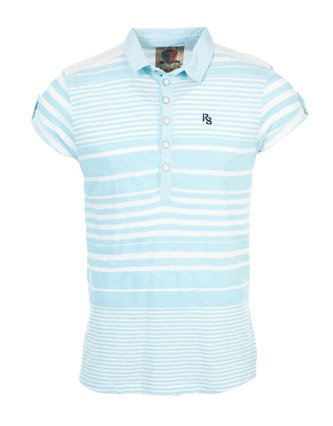 Ringspun Slater Polo Neck T-shirt - Blue - Mens - Small
