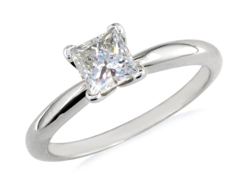 Where Can I Buy 1/2 Carat Princess Cut Diamond Engagement Ring In 14 Karat White Gold, Ring Sizes Available 4-9.5, Ring Size 9