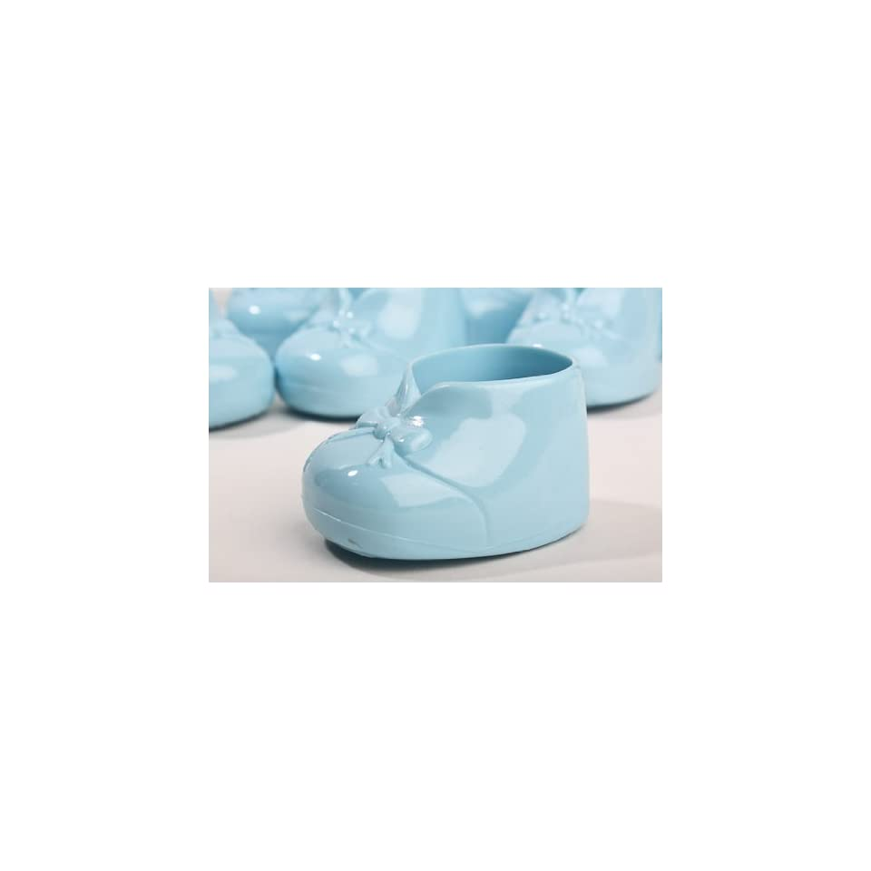 Blue Opaque Hard Plastic Baby Booties   For Boy Baby Shower Favors, Cake Decorations & Baby Gift Decorations 24pcs (2 Packages of 12 Pcs)