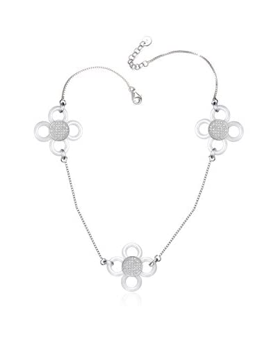 Alberto Moore CZ & White Ceramic Rhodium-Plated Flower 36 Necklace