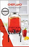 ChefLand Georgia Peach 2 Gallon Mason Glass Jar Beverage Dispenser With Stand