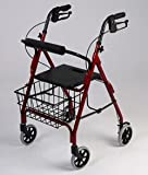 Rollator Walker - Black. This Walking Rollator has a Lightweight aluminum frame. Handles are adjustable for different heights, Locking hand brakes, Molded seat with easy fold handle, Limited lifetime warranty on the frame