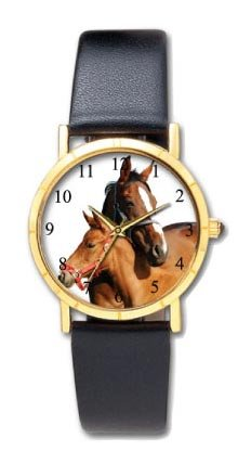 Horse watch. Mare with her Foal. Approx.1 inch dial with easy to read numbers. image