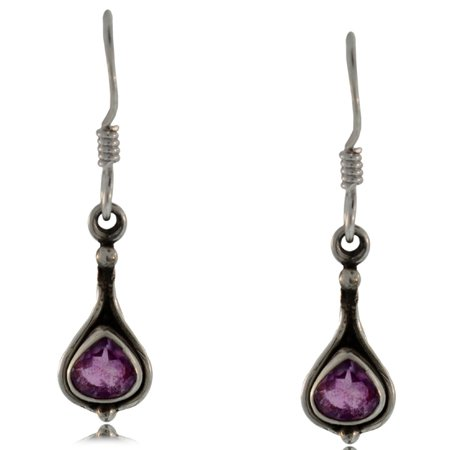 Amethyst Dangle Earrings Silver Antiqued Bezel Hooks Amethyst Dangle Earrings Silver Antiqued Bezel