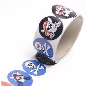Click to buy Pirate Birthday Party Ideas: Pirate Sticker Roll from Amazon!