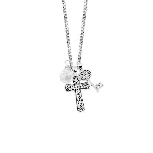 Sterling Silver Three Charm Neck with A Cross, Key and Clear Crystal, 18