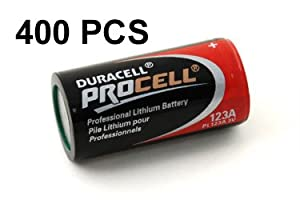Combo: 400 PCS Duracell PROCELL PL123A (CR123A) 3V Lithium Batteries