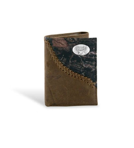 Deer - Leather Fence Row Camo Trifold Wallet