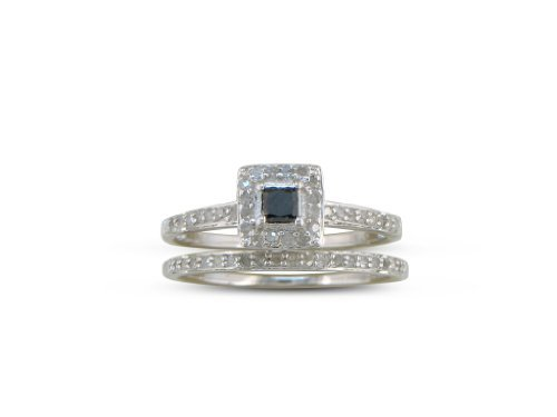 SuperJeweler Sterling Silver Black and White Princess Cut Diamond Pave Bridal Set 1/2 ct tw