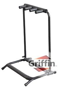 3 triple multiple guitar bass stand holder stage folding multi rack griffin musical. Black Bedroom Furniture Sets. Home Design Ideas