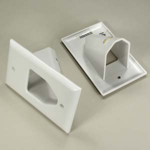InstallerParts 1-Gang Recessed Low Voltage Cable Plate - White - Internal Cable Management