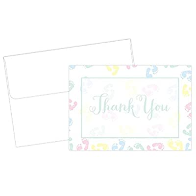 Baby Feet Thank You Cards With White Envelopes - 24 Pack