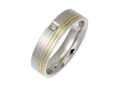 Wedding Ring, 9 Carat Satin Finish White Gold with Double Yellow Gold Sripe and Single Diamond Detail, 5mm Band Width