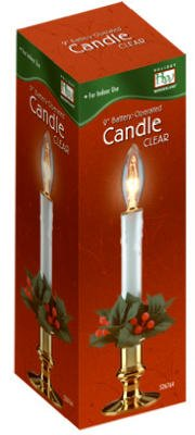 """(6) Holiday Wonderland 1518-88 9"""" Clear Brass Plated Battery Operated Window Candles"""