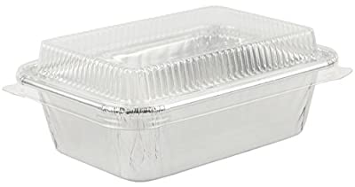 Aluminum Foil Mini-Loaf Bread Bake Pan Small Pan for Baking w/Clear Lid 20 Sets