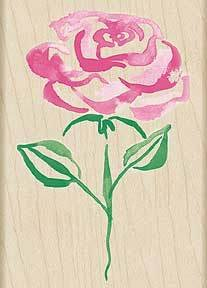 Watercolor Rose Wood Mounted Rubber Stamp (H3806)