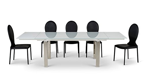 Montez White Glass Extendable Modern Dining Table - Seats Eight (Glass Extension Table compare prices)