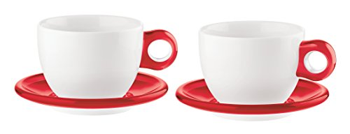 Guzzini Art & Café Transparent Red Espresso Cups with Saucers and Teaspoons; Set of 2