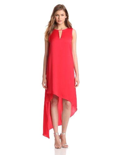 BCBGMAXAZRIA Women's Willow Asymmetrical Hem Tank Dress, Lipstick Red, Small