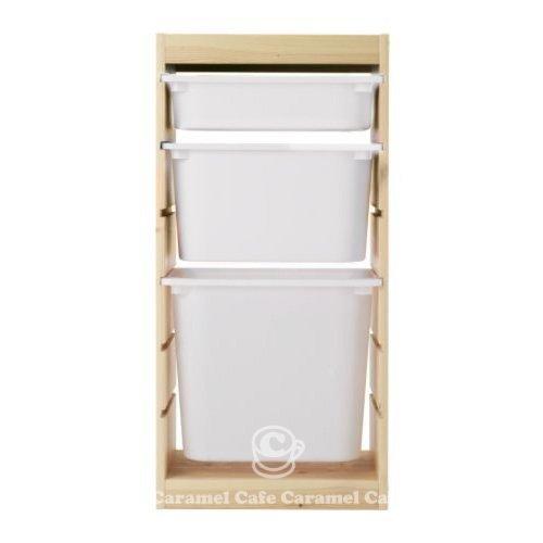 IKEA TROFAST(トロファスト)収納コンビネーション パイン材 ホワイト 44x91×30cm PT-WS1WM1WL1