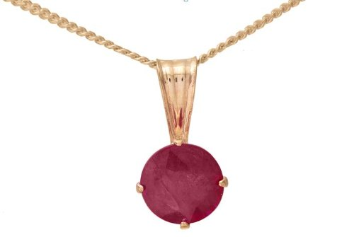 Modern 9 ct Gold Ladies Fancy Pendant + Chain with Ruby 0.65 Carat - 9mm*5mm