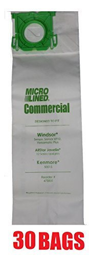 30 Sebo, Windsor Sensor Micro-Lined Commercial Upright Vacuum Bags, Fits 5093AM, 5300. 30 Pack. (Sebo Commercial Vacuum compare prices)