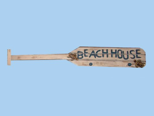 Wooden White Boat Oar Beach House Sign w/ Pegs 39