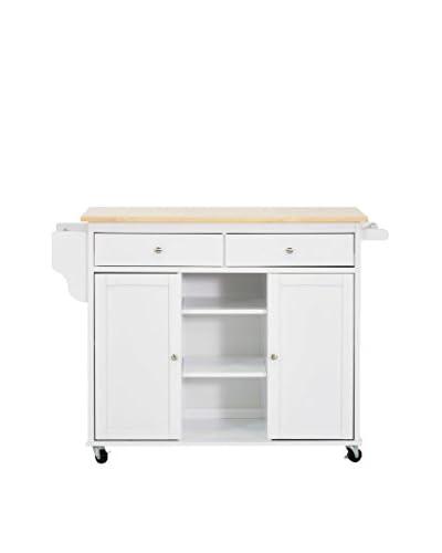 Baxton Studio Meryland Kitchen Island Cart, White