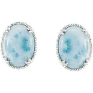 Sterling Silver Genuine Larimar Earrings